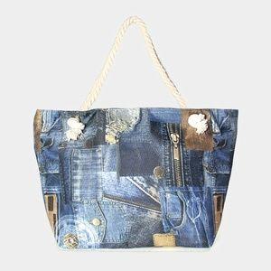 Denim Print Tote Bag